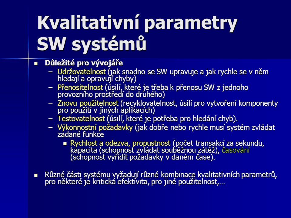 Kvalitativní parametry SW systémů Důležité pro vývojáře Důležité pro vývojáře –Udržovatelnost (jak snadno se SW upravuje a jak rychle se v něm hledají