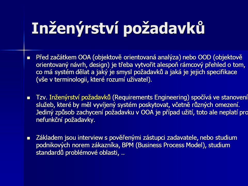 Inženýrství požadavků Před začátkem OOA (objektově orientovaná analýza) nebo OOD (objektově orientovaný návrh, design) je třeba vytvořit alespoň rámco
