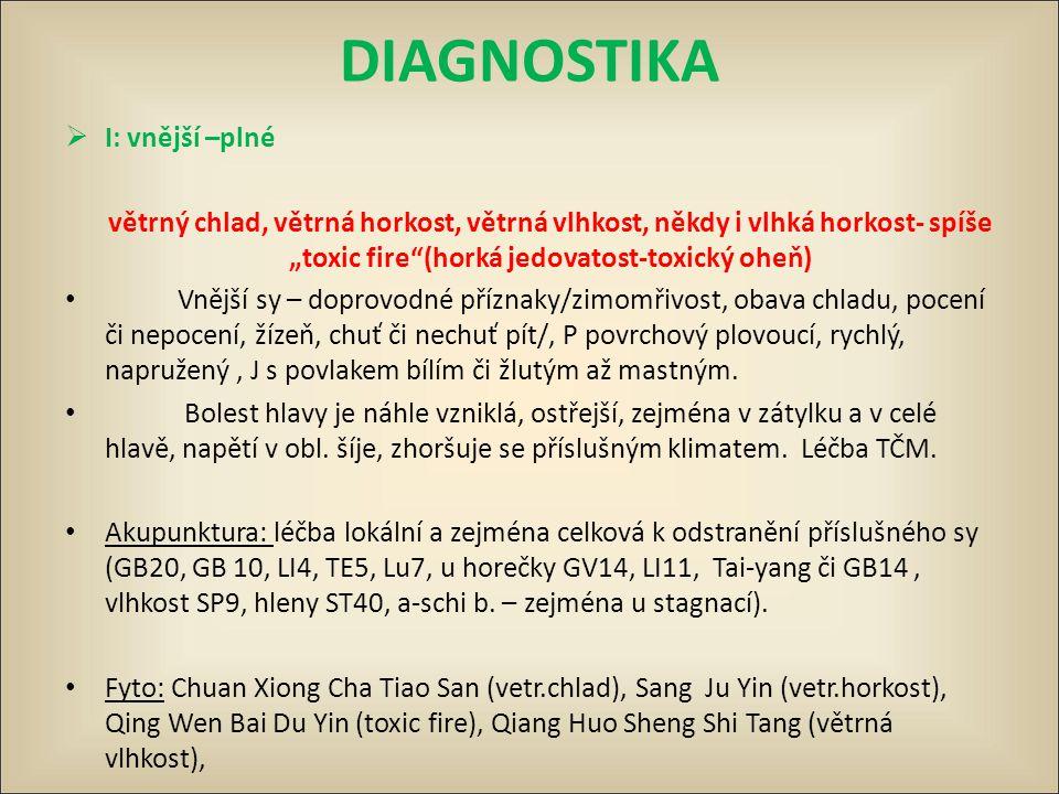 """DIAGNOSTIKA  I: vnější –plné větrný chlad, větrná horkost, větrná vlhkost, někdy i vlhká horkost- spíše """"toxic fire""""(horká jedovatost-toxický oheň) V"""