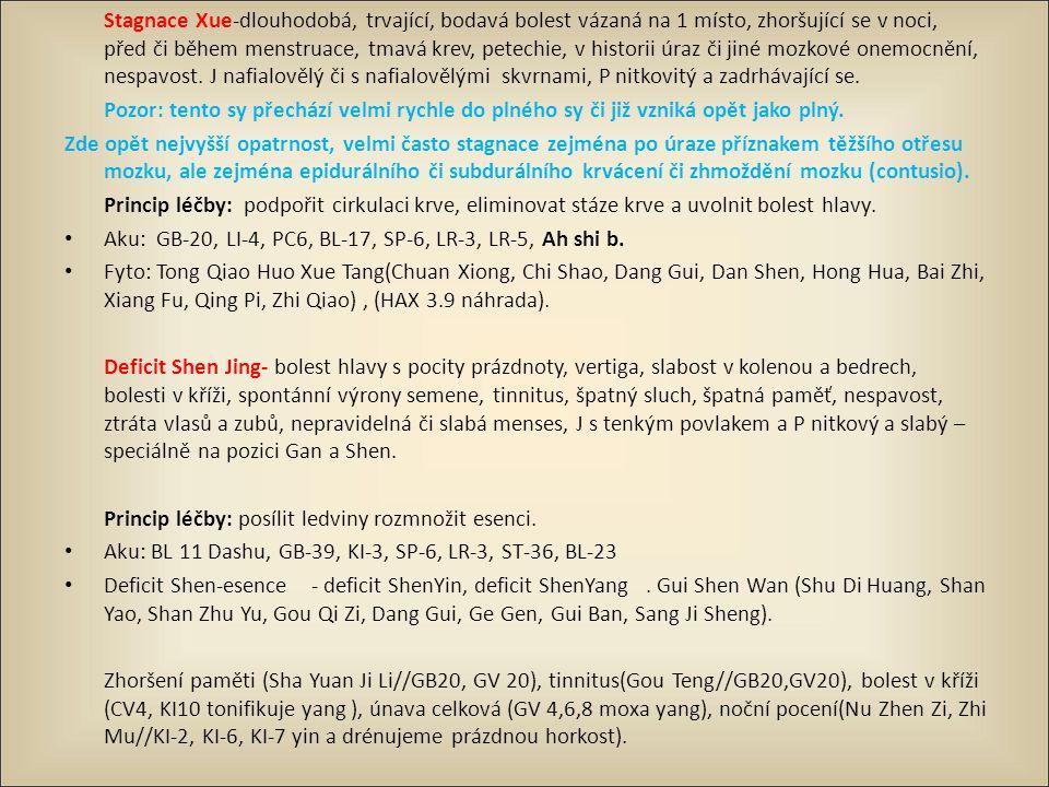 Stagnace Xue-dlouhodobá, trvající, bodavá bolest vázaná na 1 místo, zhoršující se v noci, před či během menstruace, tmavá krev, petechie, v historii ú