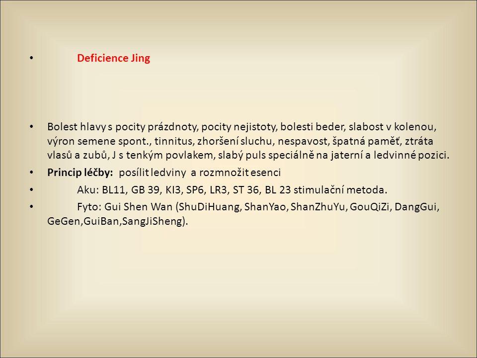 Deficience Jing Bolest hlavy s pocity prázdnoty, pocity nejistoty, bolesti beder, slabost v kolenou, výron semene spont., tinnitus, zhoršení sluchu, n
