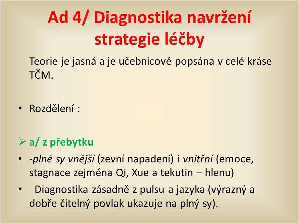 Ad 4/ Diagnostika navržení strategie léčby Teorie je jasná a je učebnicově popsána v celé kráse TČM. Rozdělení :  a/ z přebytku -plné sy vnější (zevn