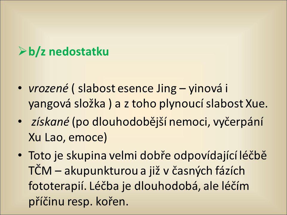  b/z nedostatku vrozené ( slabost esence Jing – yinová i yangová složka ) a z toho plynoucí slabost Xue. získané (po dlouhodobější nemoci, vyčerpání
