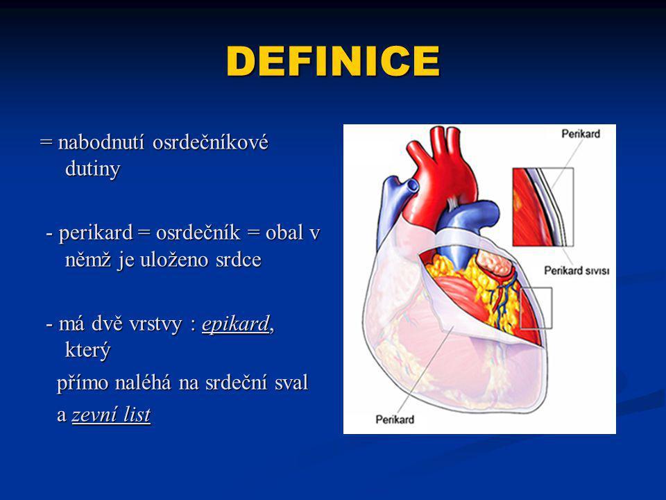 DEFINICE = nabodnutí osrdečníkové dutiny - perikard = osrdečník = obal v němž je uloženo srdce - perikard = osrdečník = obal v němž je uloženo srdce - má dvě vrstvy : epikard, který - má dvě vrstvy : epikard, který přímo naléhá na srdeční sval přímo naléhá na srdeční sval a zevní list a zevní list