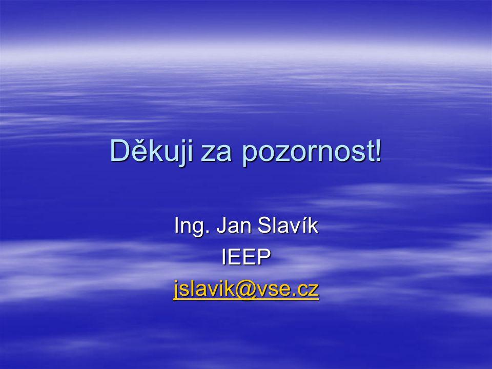 Děkuji za pozornost! Ing. Jan Slavík IEEP jslavik@vse.cz