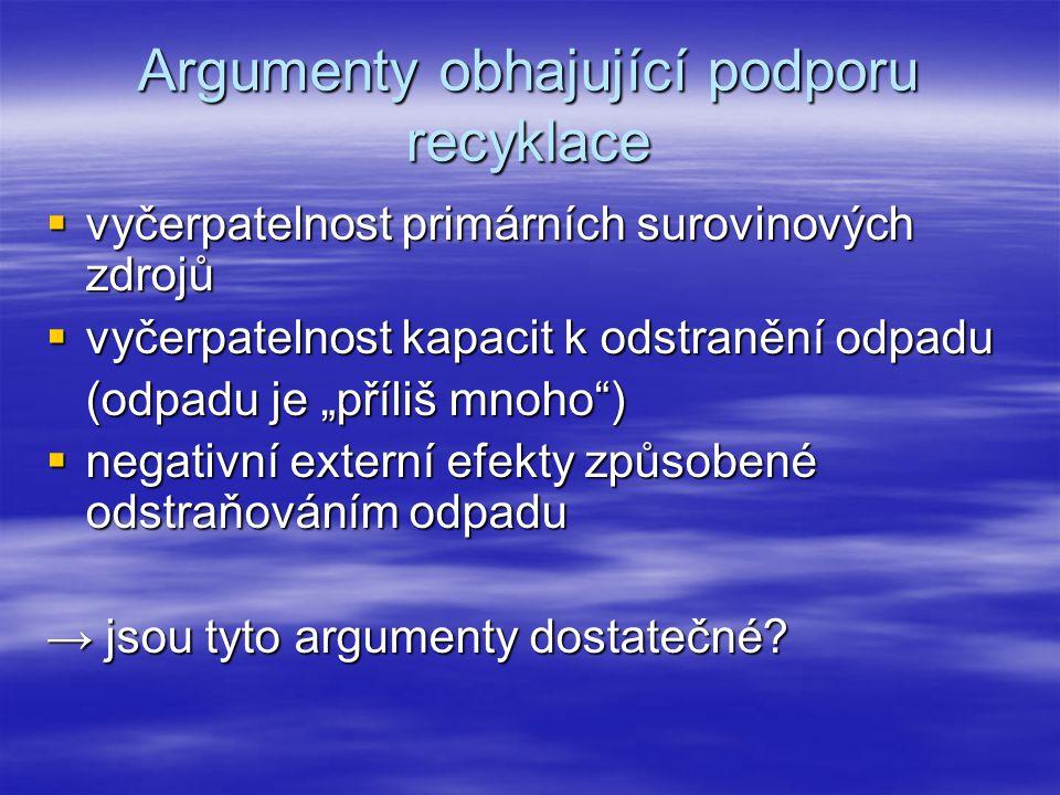 """Argumenty obhajující podporu recyklace  vyčerpatelnost primárních surovinových zdrojů  vyčerpatelnost kapacit k odstranění odpadu (odpadu je """"příliš mnoho )  negativní externí efekty způsobené odstraňováním odpadu → jsou tyto argumenty dostatečné"""