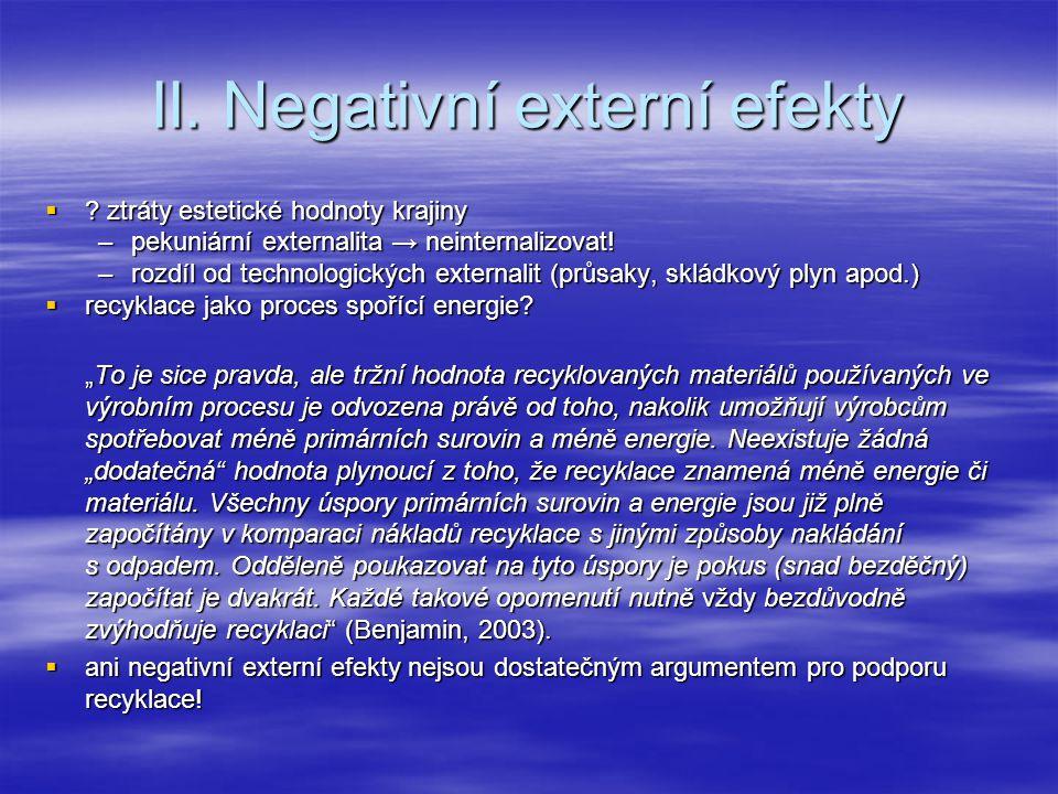 II. Negativní externí efekty  .