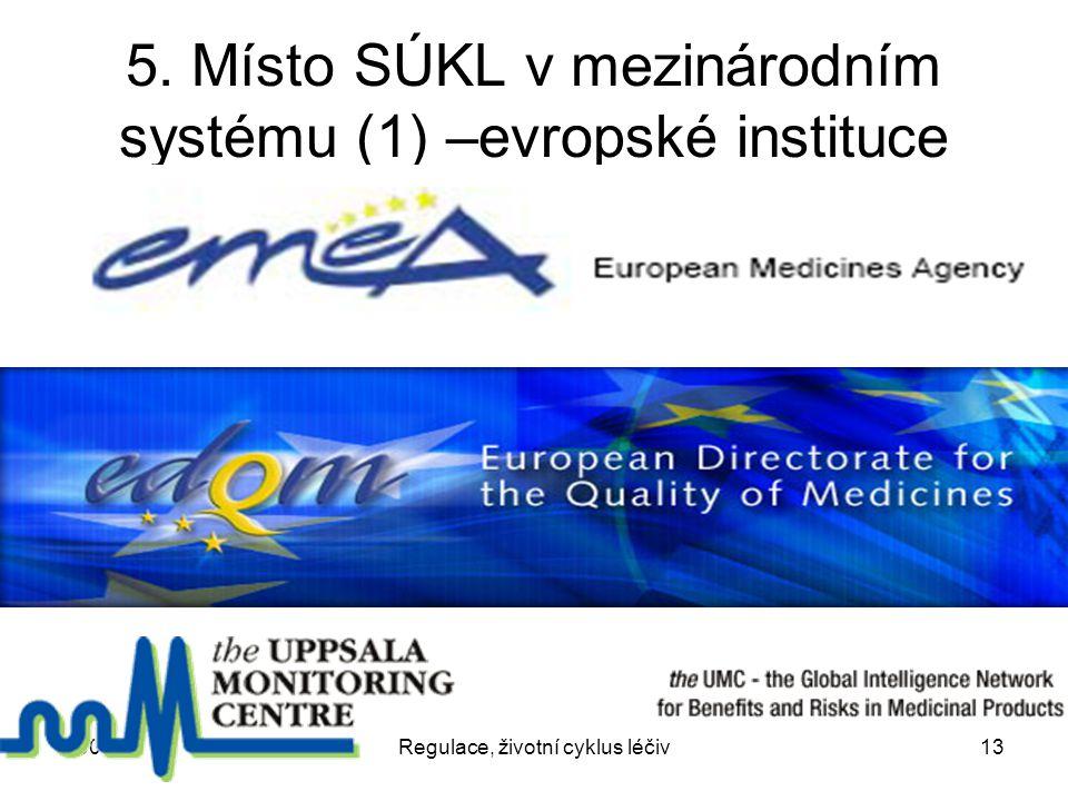 2007Regulace, životní cyklus léčiv13 5. Místo SÚKL v mezinárodním systému (1) –evropské instituce