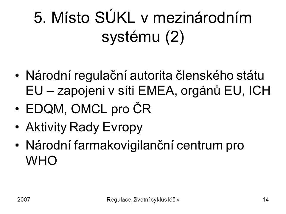 2007Regulace, životní cyklus léčiv14 5. Místo SÚKL v mezinárodním systému (2) Národní regulační autorita členského státu EU – zapojeni v síti EMEA, or