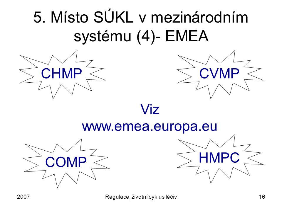 2007Regulace, životní cyklus léčiv16 5. Místo SÚKL v mezinárodním systému (4)- EMEA CHMP HMPC COMP CVMP Viz www.emea.europa.eu