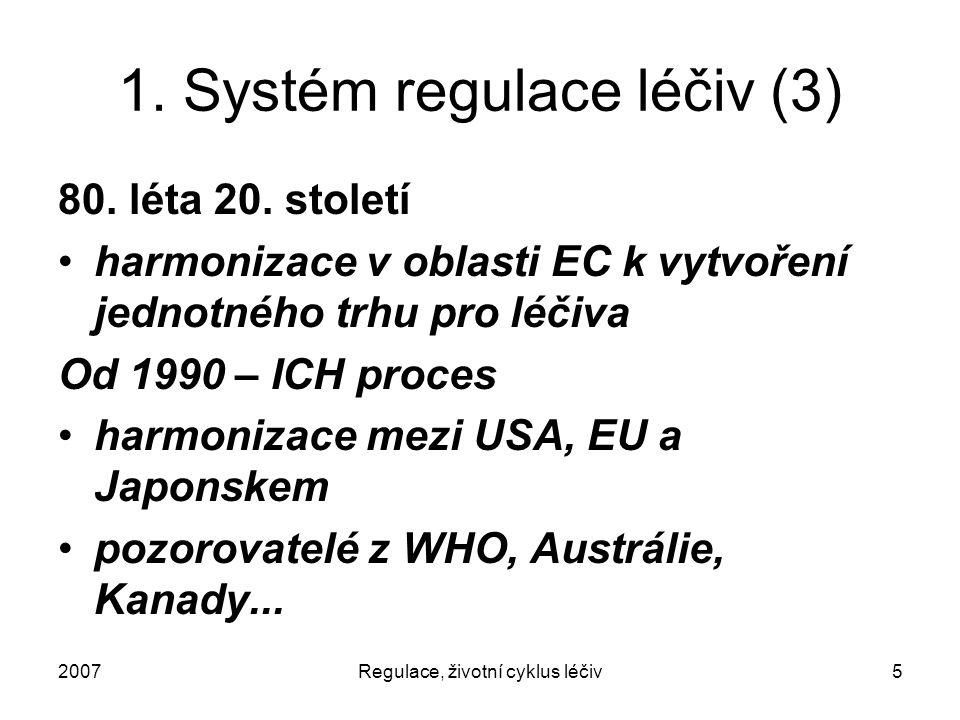 2007Regulace, životní cyklus léčiv5 1. Systém regulace léčiv (3) 80. léta 20. století harmonizace v oblasti EC k vytvoření jednotného trhu pro léčiva