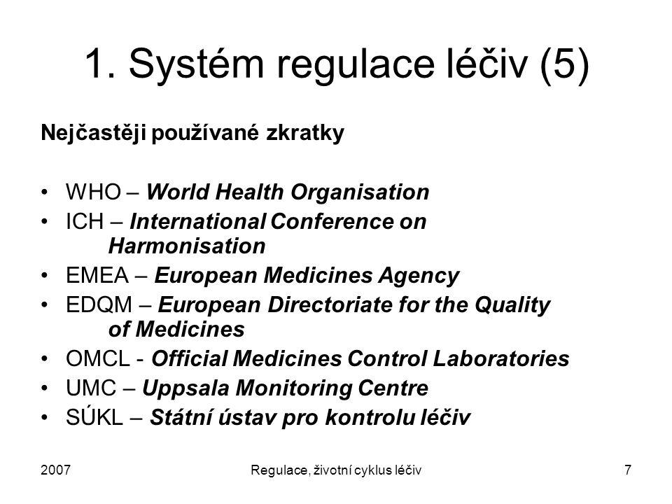 2007Regulace, životní cyklus léčiv7 1. Systém regulace léčiv (5) Nejčastěji používané zkratky WHO – World Health Organisation ICH – International Conf