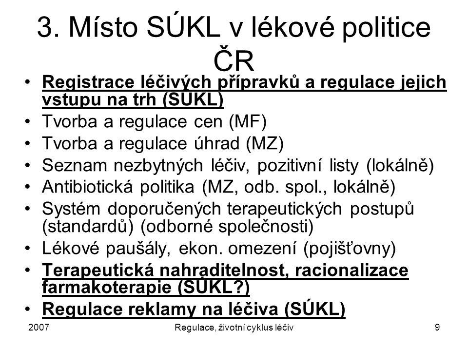 2007Regulace, životní cyklus léčiv9 3. Místo SÚKL v lékové politice ČR Registrace léčivých přípravků a regulace jejich vstupu na trh (SÚKL) Tvorba a r