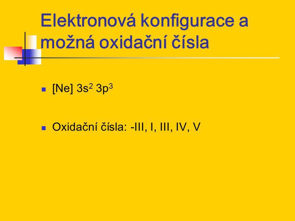 Elektronová konfigurace a možná oxidační čísla [Ne] 3s 2 3p 3 Oxidační čísla: -III, I, III, IV, V