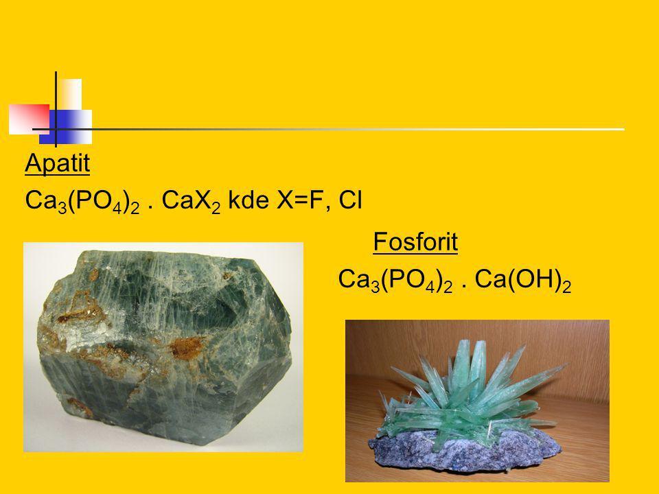 Apatit Ca 3 (PO 4 ) 2. CaX 2 kde X=F, Cl Fosforit Ca 3 (PO 4 ) 2. Ca(OH) 2
