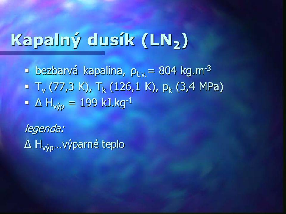 Kapalný dusík (LN 2 )  bezbarvá kapalina, ρ t.v. = 804 kg.m -3  T v (77,3 K), T k (126,1 K), p k (3,4 MPa)  Δ H výp = 199 kJ.kg -1 legenda: Δ H výp