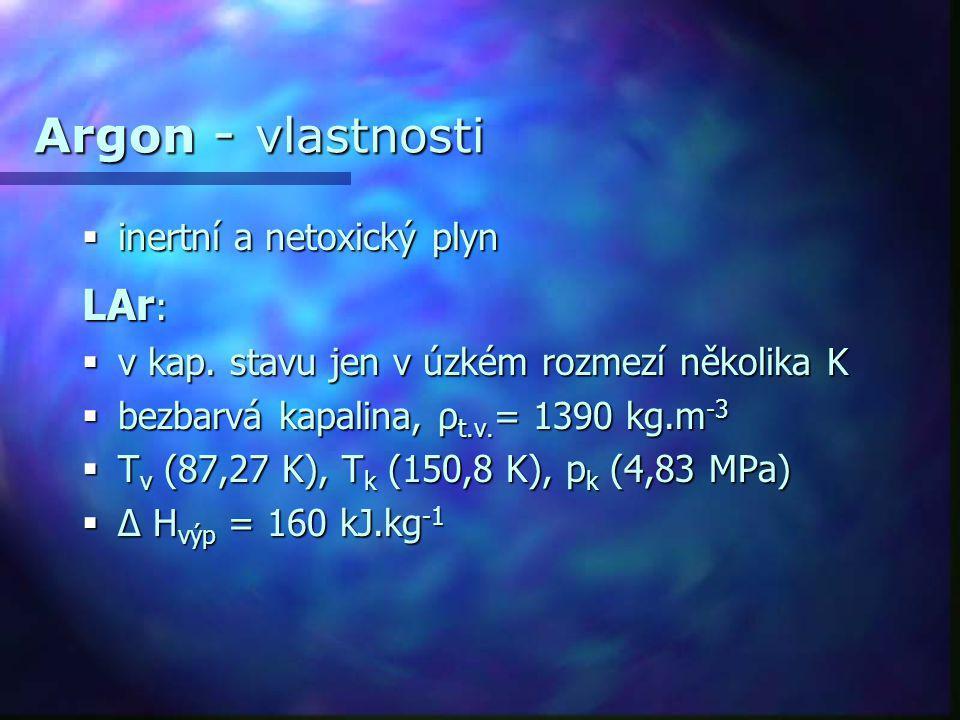 Argon - vlastnosti  inertní a netoxický plyn LAr :  v kap. stavu jen v úzkém rozmezí několika K  bezbarvá kapalina, ρ t.v. = 1390 kg.m -3  T v (87