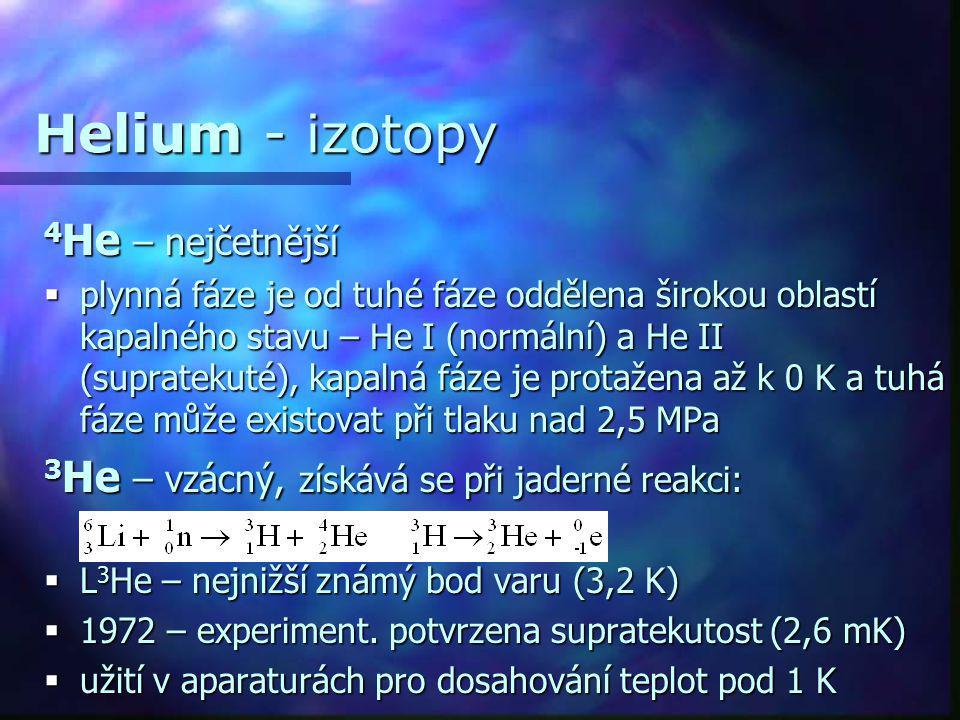 Helium - izotopy 4 He – nejčetnější  plynná fáze je od tuhé fáze oddělena širokou oblastí kapalného stavu – He I (normální) a He II (supratekuté), ka