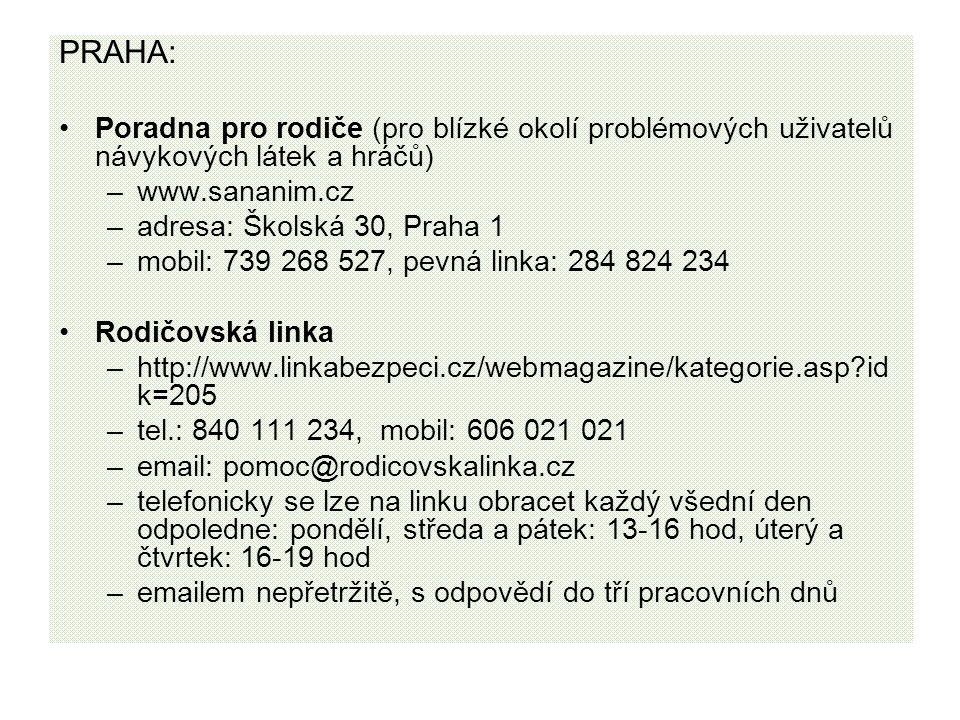 PRAHA: Poradna pro rodiče (pro blízké okolí problémových uživatelů návykových látek a hráčů) –www.sananim.cz –adresa: Školská 30, Praha 1 –mobil: 739 268 527, pevná linka: 284 824 234 Rodičovská linka –http://www.linkabezpeci.cz/webmagazine/kategorie.asp id k=205 –tel.: 840 111 234, mobil: 606 021 021 –email: pomoc@rodicovskalinka.cz –telefonicky se lze na linku obracet každý všední den odpoledne: pondělí, středa a pátek: 13-16 hod, úterý a čtvrtek: 16-19 hod –emailem nepřetržitě, s odpovědí do tří pracovních dnů