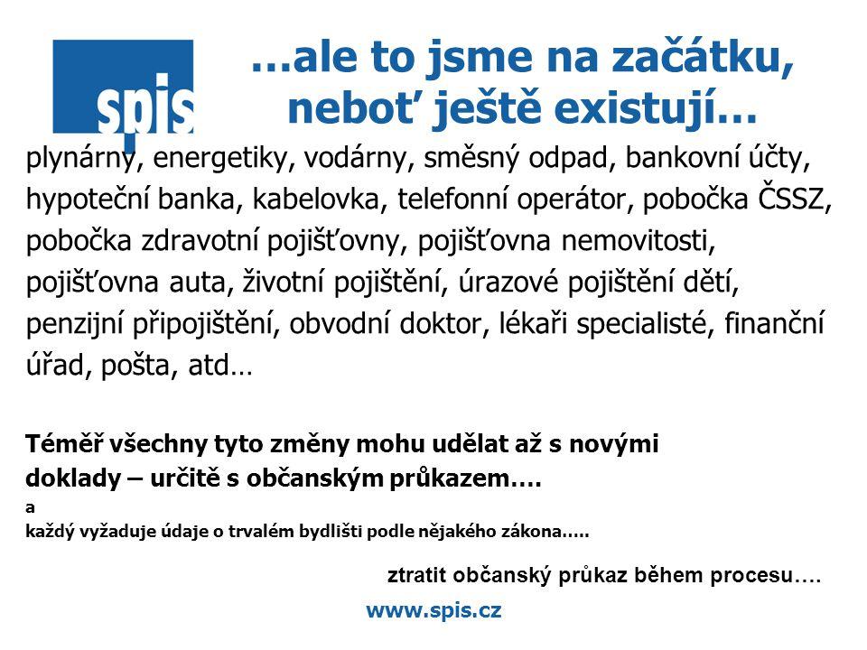 www.spis.cz …ale to jsme na začátku, neboť ještě existují… plynárny, energetiky, vodárny, směsný odpad, bankovní účty, hypoteční banka, kabelovka, telefonní operátor, pobočka ČSSZ, pobočka zdravotní pojišťovny, pojišťovna nemovitosti, pojišťovna auta, životní pojištění, úrazové pojištění dětí, penzijní připojištění, obvodní doktor, lékaři specialisté, finanční úřad, pošta, atd… Téměř všechny tyto změny mohu udělat až s novými doklady – určitě s občanským průkazem….