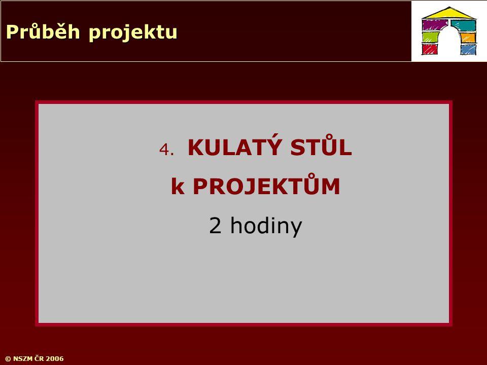 © NSZM ČR 2006 4. KULATÝ STŮL k PROJEKTŮM 2 hodiny Průběh projektu