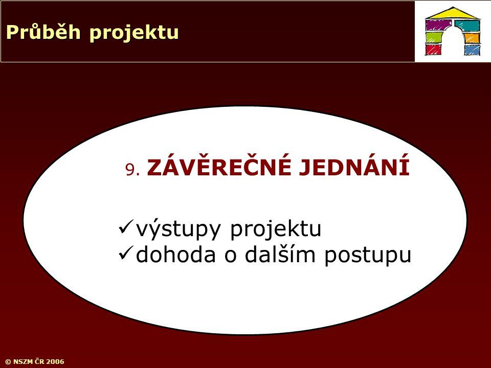 © NSZM ČR 2006 9. ZÁVĚREČNÉ JEDNÁNÍ výstupy projektu dohoda o dalším postupu Průběh projektu