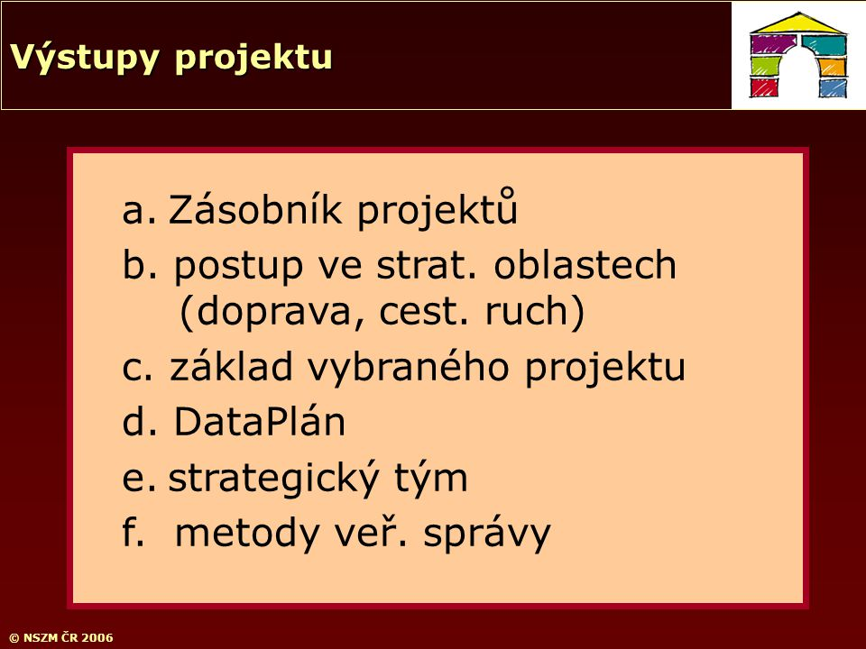 © NSZM ČR 2006 a. Zásobník projektů b. postup ve strat. oblastech (doprava, cest. ruch) c. základ vybraného projektu d. DataPlán e. strategický tým f.