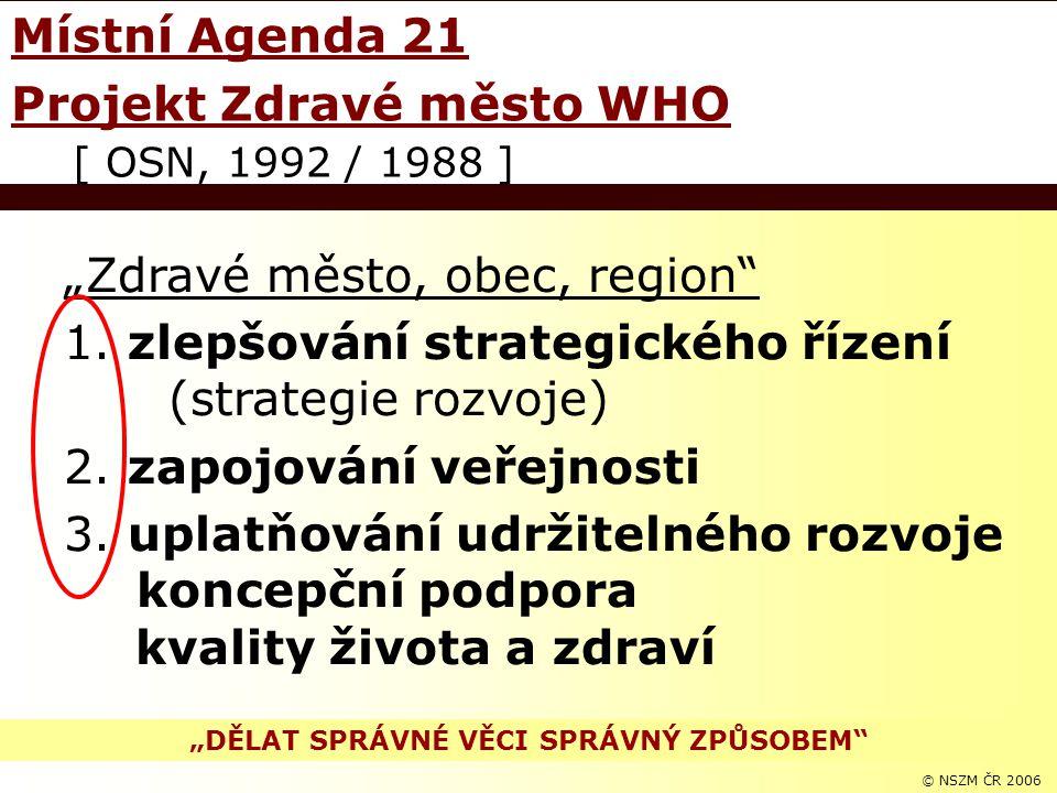 """© NSZM ČR 20063 """"Zdravé město, obec, region"""" 1. zlepšování strategického řízení (strategie rozvoje) 2. zapojování veřejnosti 3. uplatňování udržitelné"""