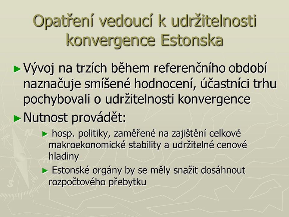 Opatření vedoucí k udržitelnosti konvergence Estonska ► Vývoj na trzích během referenčního období naznačuje smíšené hodnocení, účastníci trhu pochybovali o udržitelnosti konvergence ► Nutnost provádět: ► hosp.