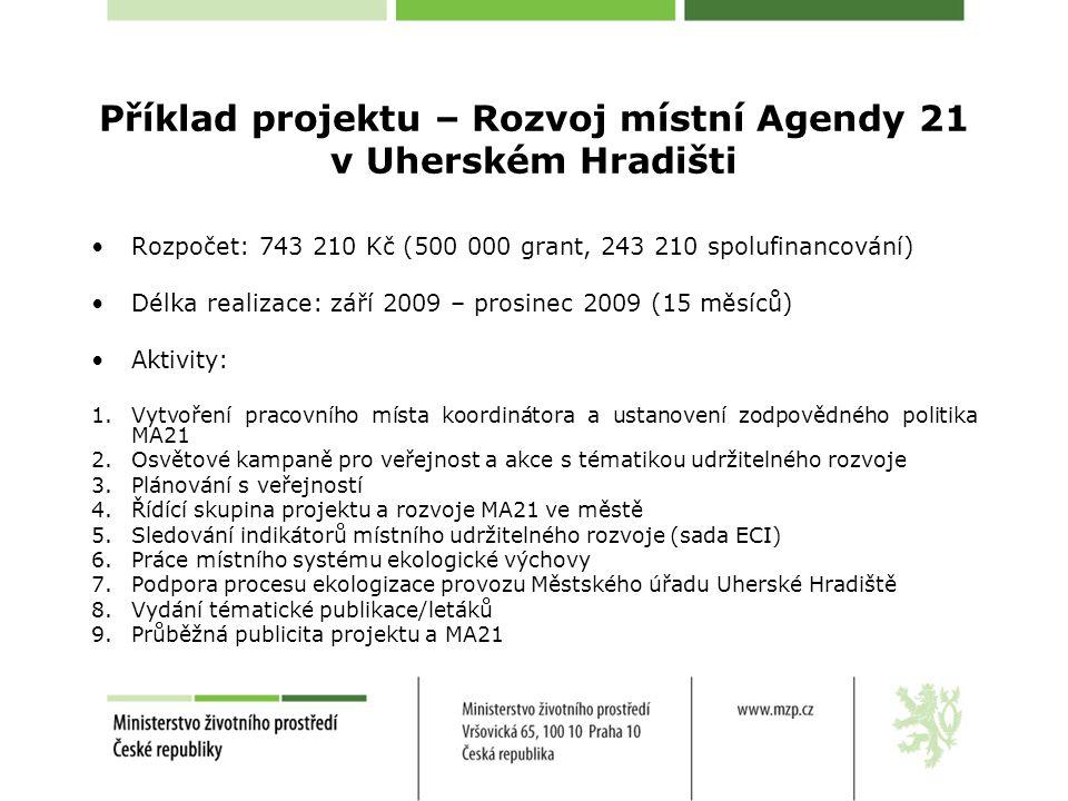 Příklad projektu – Rozvoj místní Agendy 21 v Uherském Hradišti Rozpočet: 743 210 Kč (500 000 grant, 243 210 spolufinancování) Délka realizace: září 2009 – prosinec 2009 (15 měsíců) Aktivity: 1.Vytvoření pracovního místa koordinátora a ustanovení zodpovědného politika MA21 2.Osvětové kampaně pro veřejnost a akce s tématikou udržitelného rozvoje 3.Plánování s veřejností 4.Řídící skupina projektu a rozvoje MA21 ve městě 5.Sledování indikátorů místního udržitelného rozvoje (sada ECI) 6.Práce místního systému ekologické výchovy 7.Podpora procesu ekologizace provozu Městského úřadu Uherské Hradiště 8.Vydání tématické publikace/letáků 9.Průběžná publicita projektu a MA21