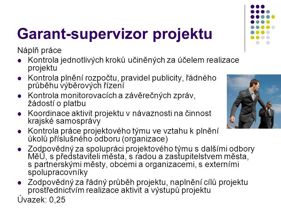 Garant-supervizor projektu Náplň práce Kontrola jednotlivých kroků učiněných za účelem realizace projektu Kontrola plnění rozpočtu, pravidel publicity, řádného průběhu výběrových řízení Kontrola monitorovacích a závěrečných zpráv, žádostí o platbu Koordinace aktivit projektu v návaznosti na činnost krajské samosprávy Kontrola práce projektového týmu ve vztahu k plnění úkolů příslušného odboru (organizace) Zodpovědný za spolupráci projektového týmu s dalšími odbory MěÚ, s představiteli města, s radou a zastupitelstvem města, s partnerskými městy, obcemi a organizacemi, s externími spolupracovníky Zodpovědný za řádný průběh projektu, naplnění cílů projektu prostřednictvím realizace aktivit a výstupů projektu Úvazek: 0,25