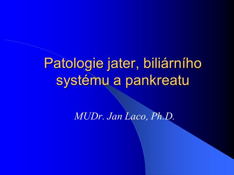 Karcinom pankreatu - častý - rizikové faktory - kouření - hereditární pankreatitis (40x) - muži staršího věku, 60-80 let - asymptomatický x bolest, ikterus, migrující tromboflebitis - hlava (60-70%) x tělo (5-10%) x ocas (20%) x difúzní (20%) Ma: tuhý šedobílý nepravidelný Mi: duktální adenokarcinom + desmoplasie, +/- hlenotvorba lokální šíření (duodenum, retroperitoneum), nervy + regionální LU hematogenní - játra, plíce, kosti 5-year survival: < 5%