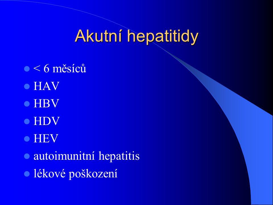 Akutní hepatitidy < 6 měsíců HAV HBV HDV HEV autoimunitní hepatitis lékové poškození