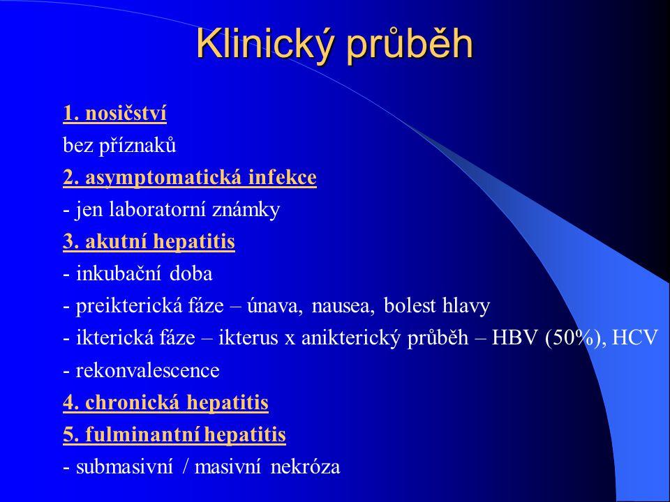 Klinický průběh 1. nosičství bez příznaků 2. asymptomatická infekce - jen laboratorní známky 3. akutní hepatitis - inkubační doba - preikterická fáze
