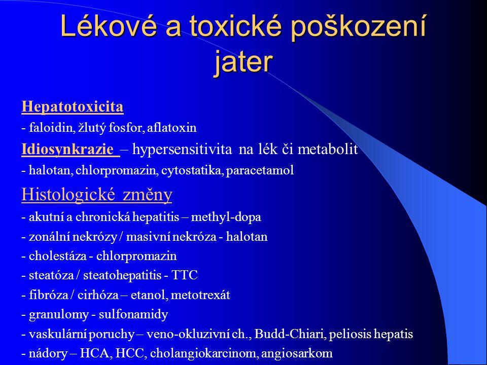 Lékové a toxické poškození jater Hepatotoxicita - faloidin, žlutý fosfor, aflatoxin Idiosynkrazie – hypersensitivita na lék či metabolit - halotan, ch
