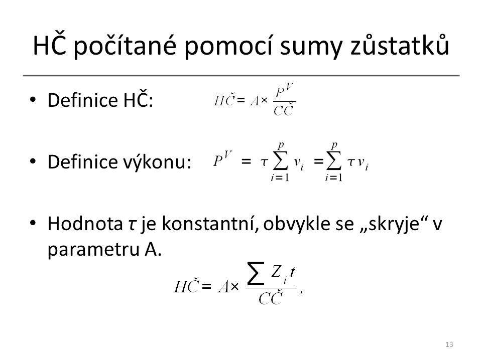 """HČ počítané pomocí sumy zůstatků Definice HČ: Definice výkonu: Hodnota τ je konstantní, obvykle se """"skryje v parametru A."""