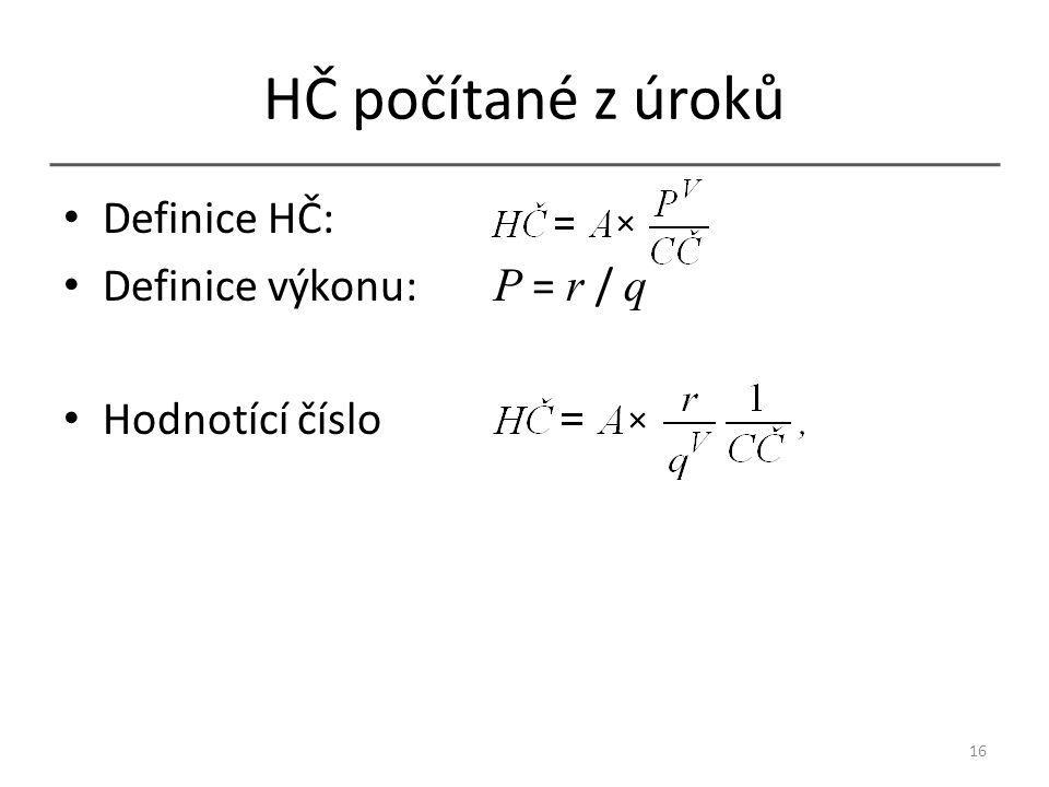 HČ počítané z úroků Definice HČ: Definice výkonu: P = r / q Hodnotící číslo 16