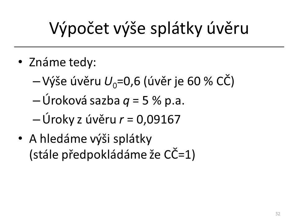 Výpočet výše splátky úvěru Známe tedy: – Výše úvěru U 0 =0,6 (úvěr je 60 % CČ) – Úroková sazba q = 5 % p.a.