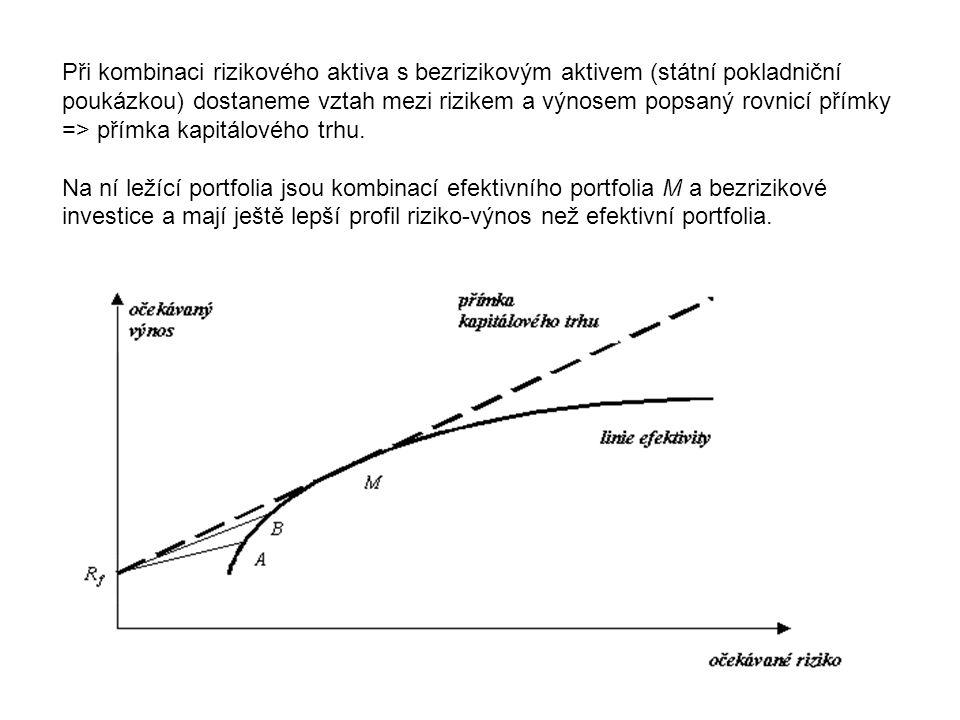 Při kombinaci rizikového aktiva s bezrizikovým aktivem (státní pokladniční poukázkou) dostaneme vztah mezi rizikem a výnosem popsaný rovnicí přímky =>