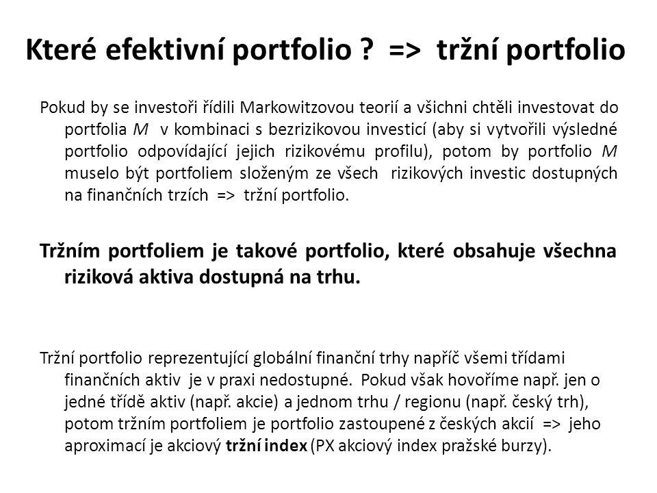 Které efektivní portfolio ? => tržní portfolio Pokud by se investoři řídili Markowitzovou teorií a všichni chtěli investovat do portfolia M v kombinac