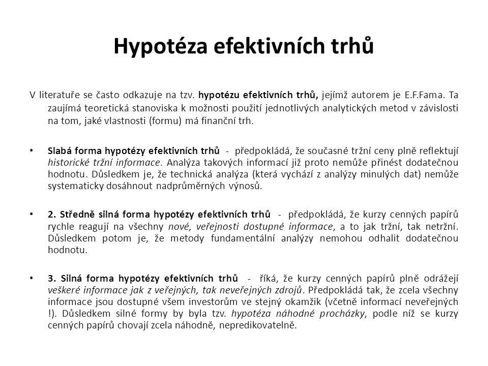 Hypotéza efektivních trhů V literatuře se často odkazuje na tzv. hypotézu efektivních trhů, jejímž autorem je E.F.Fama. Ta zaujímá teoretická stanovis