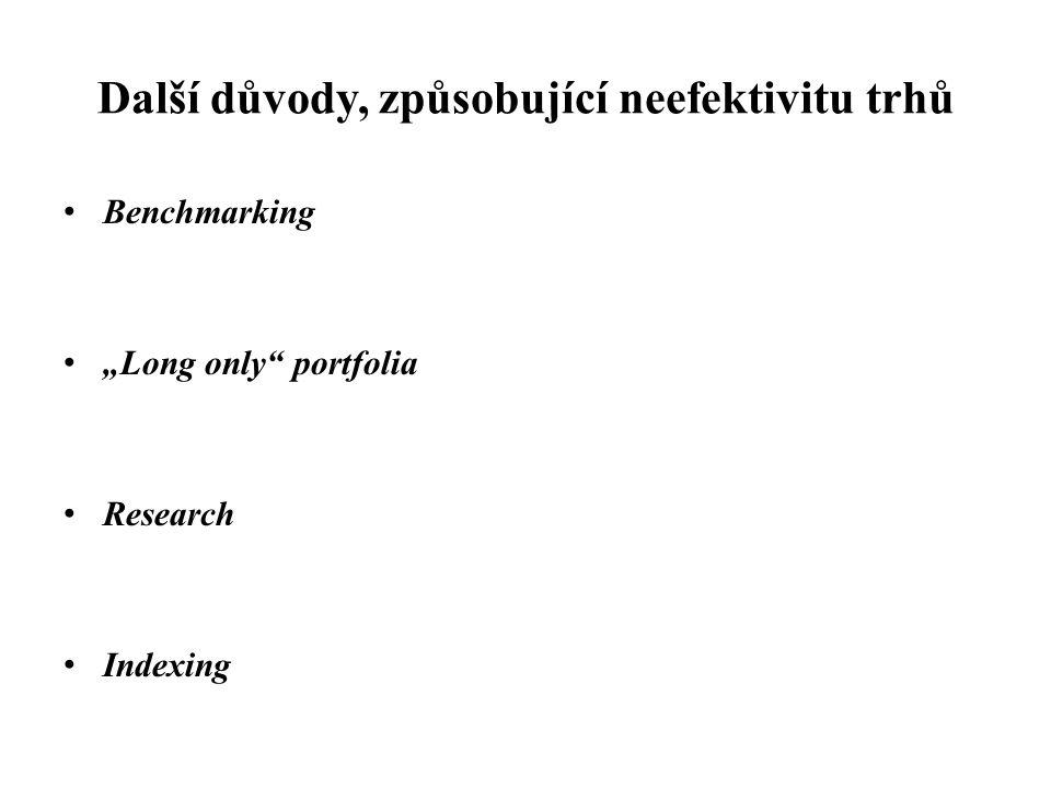"""Další důvody, způsobující neefektivitu trhů Benchmarking """"Long only"""" portfolia Research Indexing"""