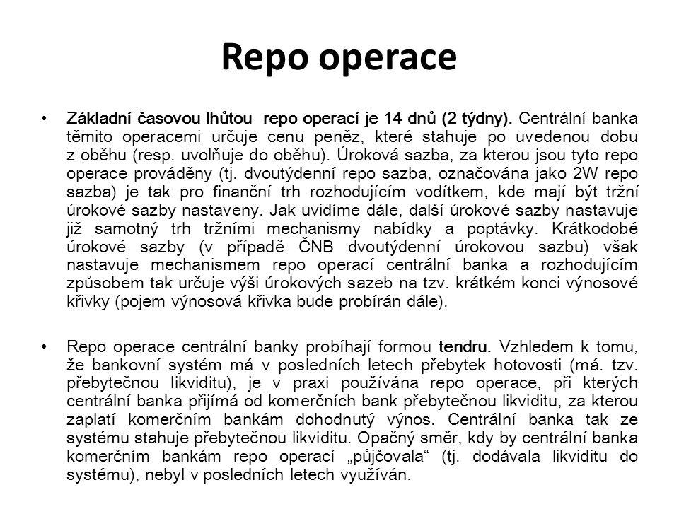 Repo operace Základní časovou lhůtou repo operací je 14 dnů (2 týdny). Centrální banka těmito operacemi určuje cenu peněz, které stahuje po uvedenou d