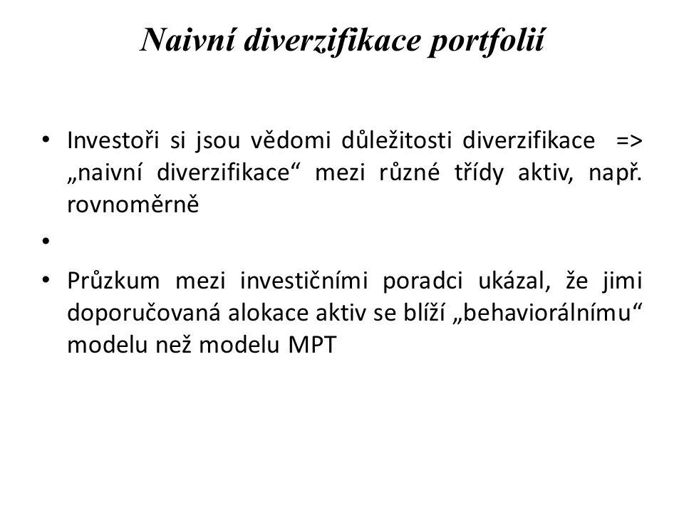 """Naivní diverzifikace portfolií Investoři si jsou vědomi důležitosti diverzifikace => """"naivní diverzifikace"""" mezi různé třídy aktiv, např. rovnoměrně P"""
