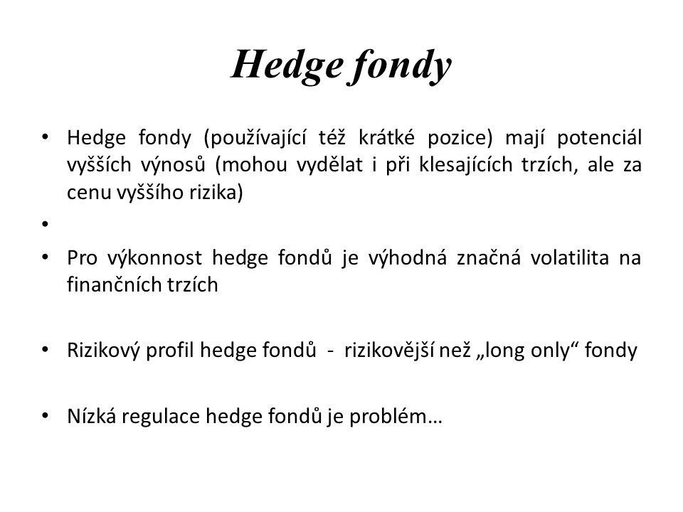 Hedge fondy Hedge fondy (používající též krátké pozice) mají potenciál vyšších výnosů (mohou vydělat i při klesajících trzích, ale za cenu vyššího riz