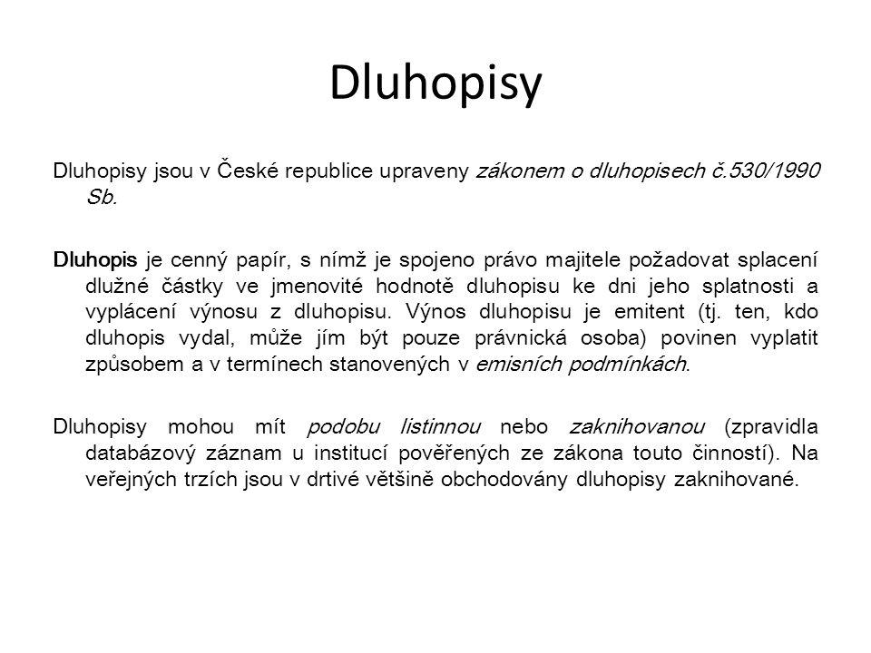 Dluhopisy Dluhopisy jsou v České republice upraveny zákonem o dluhopisech č.530/1990 Sb. Dluhopis je cenný papír, s nímž je spojeno právo majitele pož