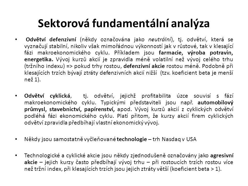 Sektorová fundamentální analýza Odvětví defenzivní (někdy označována jako neutrální), tj. odvětví, která se vyznačují stabilní, nikoliv však mimořádno