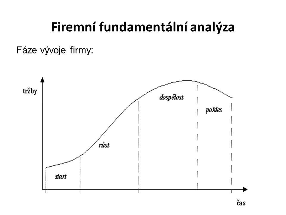 Firemní fundamentální analýza Fáze vývoje firmy: