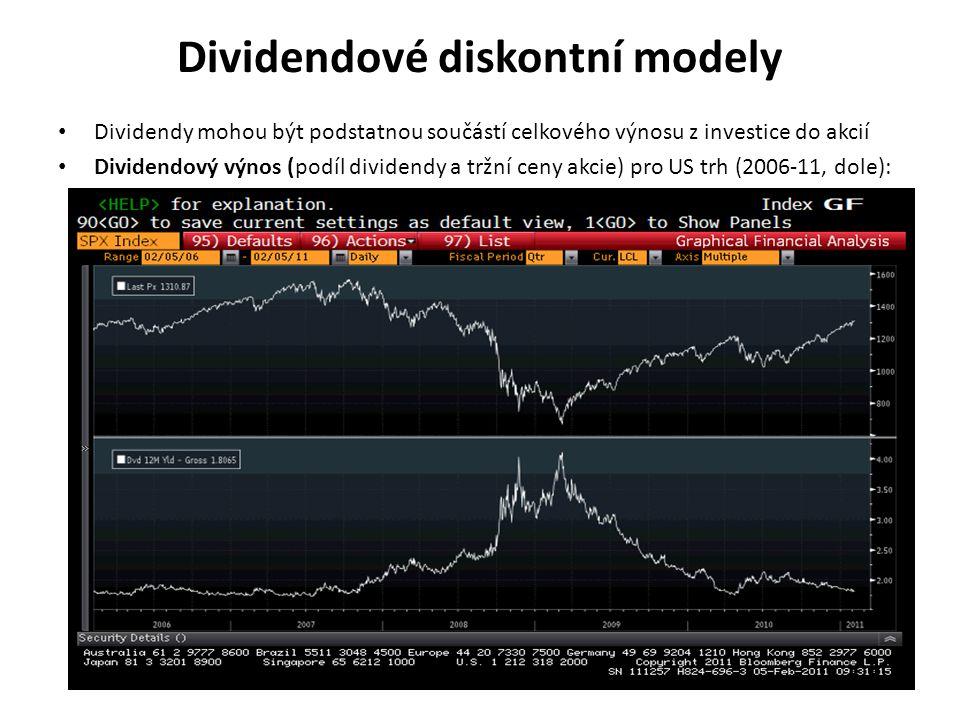 Dividendové diskontní modely Dividendy mohou být podstatnou součástí celkového výnosu z investice do akcií Dividendový výnos (podíl dividendy a tržní