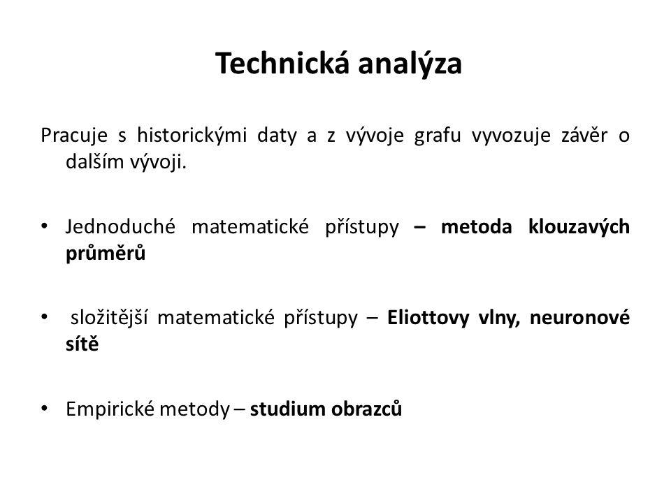 Technická analýza Pracuje s historickými daty a z vývoje grafu vyvozuje závěr o dalším vývoji. Jednoduché matematické přístupy – metoda klouzavých prů